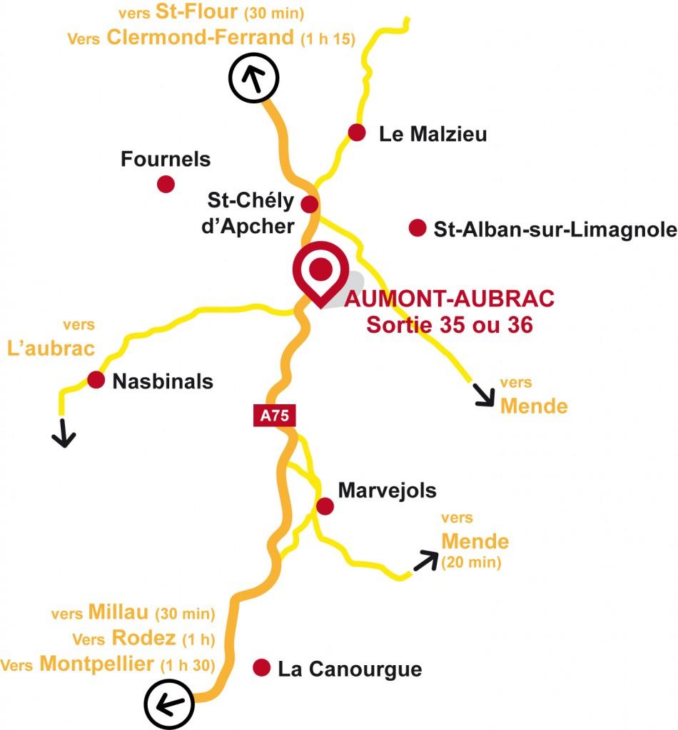Carte accès Grande Halle Aumont-Aubrac
